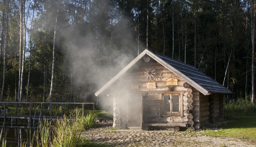 Old wooden smoke sauna in Sokka holiday resort in Estonia.